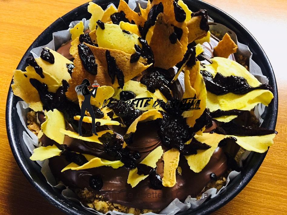 cheesecake ai brigidini, crema di nocciole e cioccolato