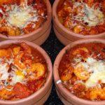 risotto con gamberi e mousse di peperoni