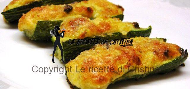 Ricetta delle zucchine ripiene gratinate alla ricotta, gamberi, taggiasche e limone
