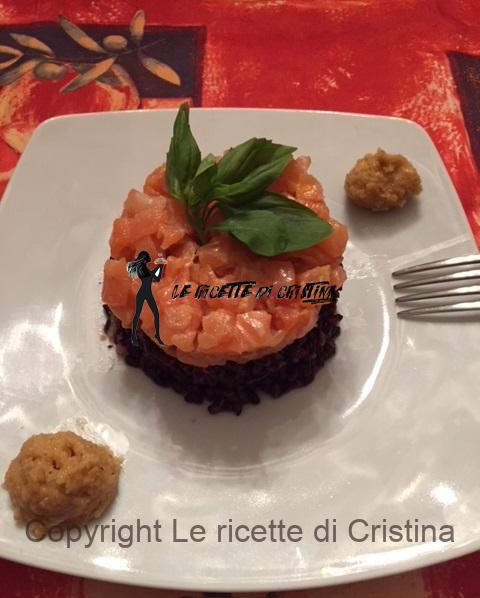 Ricetta Del Riso Venere In Tartare Di Salmone Con Zabaione Salato