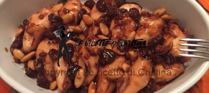Calamaretti ripieni brasati al Rum con mandorle e uva passa di Moscato